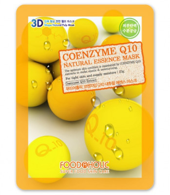 Тканевая 3D маска с коэнзимом Q10 FoodaHolic Coenzyme Q10 Natural Essence Mask 23мл: фото