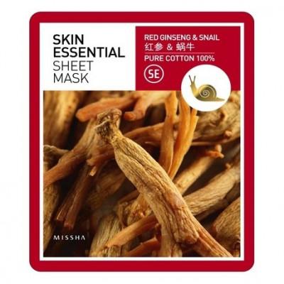 Маска тканевая с женьшенем и муцином улитки MISSHA Skin Essential Sheet Mask Ginseng & Snail: фото