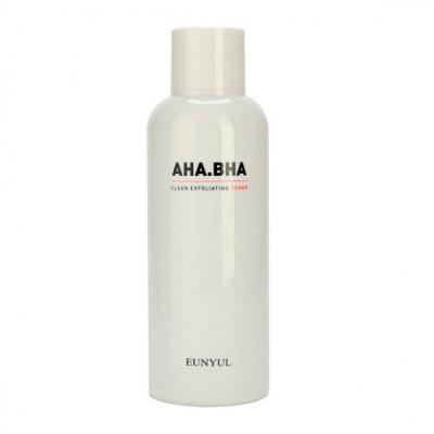 Тонер отшелушивающий с AHA и BHA кислотами для чистой кожи Eunyul AHA.BHA Clean Exfoliating Toner 180мл: фото