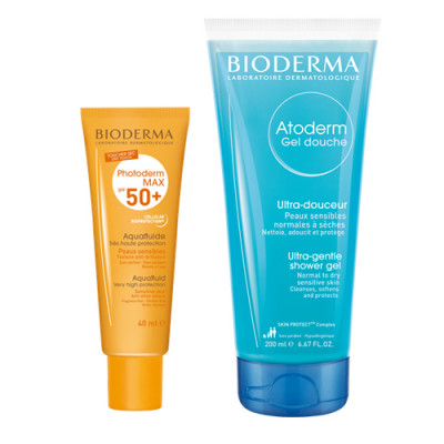 Набор Bioderma Photoderm: Фотодерм Max Аквафлюид SPF5040 мл + Атодерм Гель для душа 100мл: фото