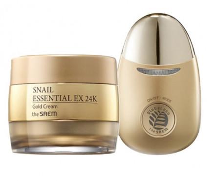Крем для лица с муцином улитки и вибромассажер THE SAEM Snail Essential EX 24K Gold Cream Set 50мл: фото