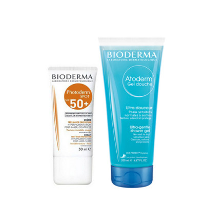 Набор Bioderma Photoderm Spot: крем SPF50+ и Атодерм гель для душа: фото