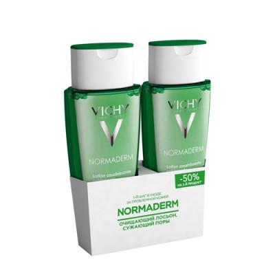 Дуопак: Лосьон очищающий, сужающий поры VICHY Normaderm 200мл скидка 50% на 2й продукт: фото