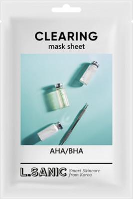 Тканевая маска с AHA/BHA кислотами для очищения пор L.SANIC AHA/BHA CLEARING MASK SHEET 25мл: фото