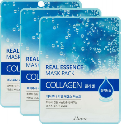 Тканевая маска с коллагеном JUNO Jluna Real essence mask pack collagen 25 мл*3шт: фото