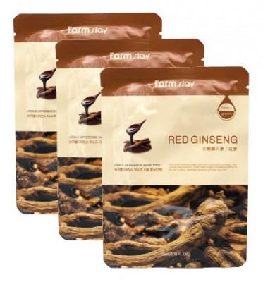 Набор тканевых масок с экстрактом корня красного женьшеня FarmStay RED GINSENG VISIBLE DIFFERENCE MASK SHEET 23мл*3: фото