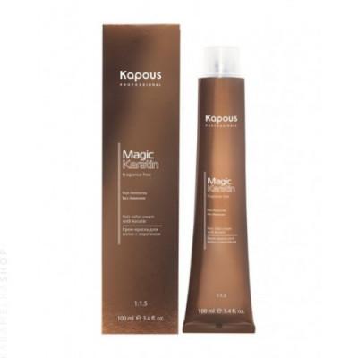 Крем-краска для волос с кератином Kapous Professional Magic Keratin - 6.11 Темный блондин интенсивный пепельный, 100 мл: фото