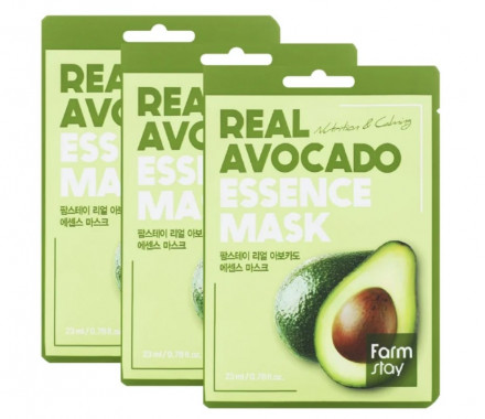 Набор тканевых масок с экстрактом авокадо FarmStay REAL AVOCADO ESSENCE MASK 23мл*3: фото