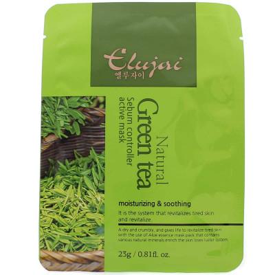 Тканевая маска для лица с зеленым чаем Elujai Sebum Controller Active Mask Green Tea Essence 23 г: фото