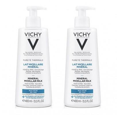 Мицеллярное молочко с минералами для нормальной и сухой кожи Vichy Purete Thermal 400мл*2 ( второй В ПОДАРОК): фото