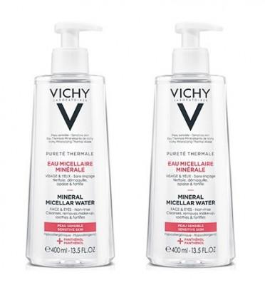 Мицеллярная вода с минералами для чувствительной кожи Vichy Purete Thermal 400мл*2 ( второй В ПОДАРОК): фото