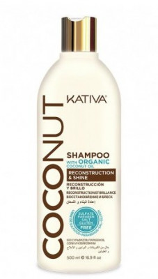 Восстанавливающий шампунь с органическим кокосовым маслом для поврежденных волос Kativa Coconut 500мл: фото